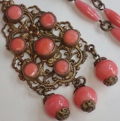 Antique Art Deco Brass Filigree Pink Coral Czech Glass Pendant Necklace
