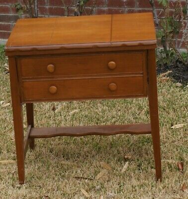 Vintage / Antique Pretty WHITE Sewing Machine Cabinet (Some Singer) NICE CABINET