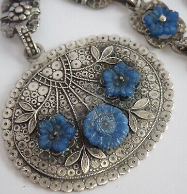 Antique Art Deco Fishel Nessler Silver Plate Blue Glass Flower Pendant Necklace