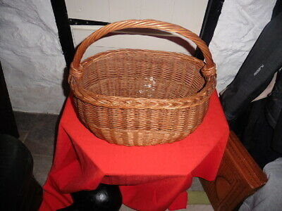 Vintage Heavy Duty, Wicker Handled, Oval Shopping Basket