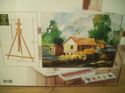 Painting Set table easel with Acrylic Paints  Brushes & Canvas