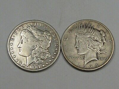 2 US Silver Dollars: 1887-o Morgan cleaned & 1924 Peace.  #26