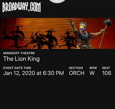 2 Tickets to The Lion King at Minskoff Theatre on January 12, 2020 @ 6:30pm.