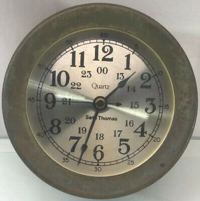 "Vintage 6.25"" Brass Seth Thomas by Talley 1037-002 Maritime Clock"