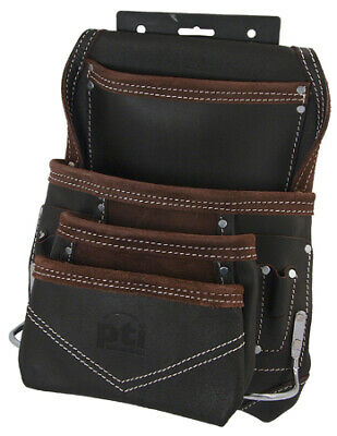 PTI Oil Tan Leather Carpenter Builder Tool Pouch Pocket