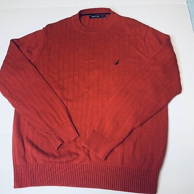 Nautica Pullover Sweater Mens Sz L Red Knit Ribbed Crewneck Long Sleeve Cotton