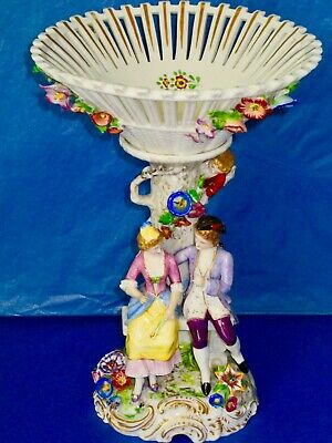 Dresden Adolf Leube Antique Courting Pair Figurine Fruit Stand Porcelain 9.7""