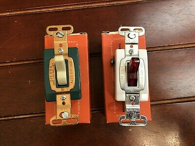 Lot of 2 Vintage Sierra Corp. Electric Light Switches Red & Green NOS USA