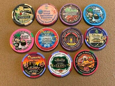 CC&GTCC Convention Chips (Aladdin & Others) Lot Of 11 Chips! Uncirculated! Mint!