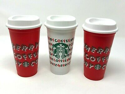 Lot 3 Starbucks 2019 Limited Edition Reusable Holiday Christmas Cup 16oz Grande