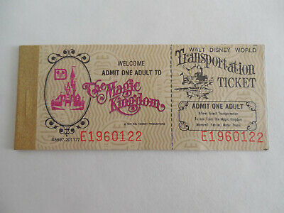 Unused 1970s Magic Kingdom Adult 8 Adventures A B C D E Ticket Book Disney World