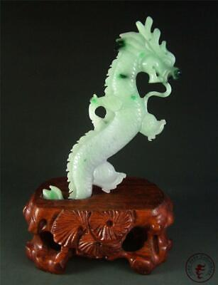 Old Natural Chinese Jadeite Emerald Jade Carved Statue Powerful Dragon w/ Stand