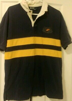Vintage POLO RALPH LAUREN Spell Out Fishing Tackle 1967 Rugby Shirt 90s Large