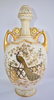 """Huge Antique Royal Worcester Hand Painted Vase - Peacock - Reticulated 46cm/18"""""""
