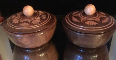 Pair Of Small Wood Treen Pots With Lids