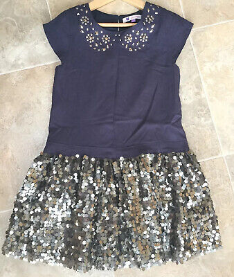 John Lewis Stunning Girls Blue Sequinned Embellished Dress Age 7 Years In VGC