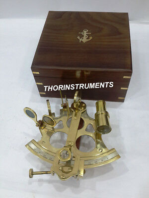 Nautical Brass Heavy Sextant Royal Marine Instrument With Anchor Wooden Box