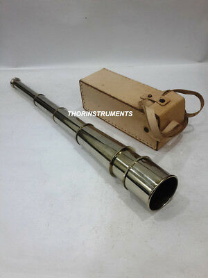 Nautical Brass Collectible Telescope Marine Maritime With White Leather Case