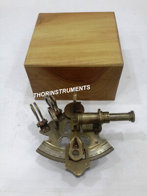 Nautical Antique Maritime Sextant Brass Navigation Decor With Natural Wooden Box
