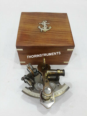 Antique Brass Nautical Maine Sextant Navigation With Anchor Wooden Box