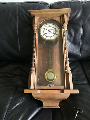 Antique Keighley VIENNA WALL CLOCK stained pine Cased Key-Wind Restoration Job