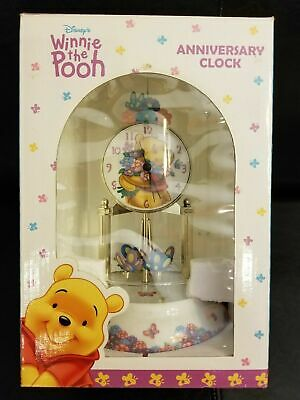 Disney Winnie The Pooh Anniversary Clock Glass Dome Porcelain Base & Dial - NEW