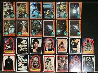 Star Wars Trading Card Lot Of 12 Orange Cards & 14 Stickers By Topps