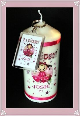 21st Birthday Candle & Keyring personalised gift for her