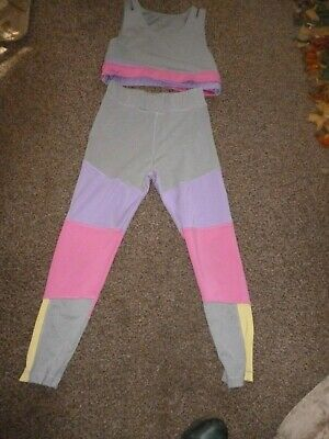 Crop-Top-And-Leggings-Set  SOULUX GREY AND PINK AGED 10-11