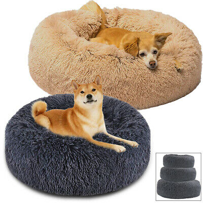 Donut Cat Bed Faux Fur Dog Bed Fluffy Soft Warm Sleeping Kennel Removable Pillow
