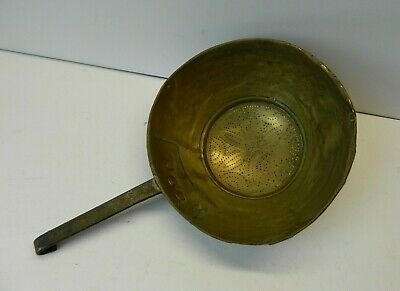 Antique French Brass Colander Hand Pierced Decoration