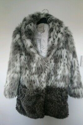 Next Girls Faux Fur Jacket Coat 11/12yrs. Immaculate. Animal print