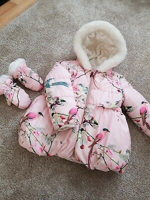 Girls Pink Floral Ted Baker hooded Coat With Birds Excellent Condition  age 5/6
