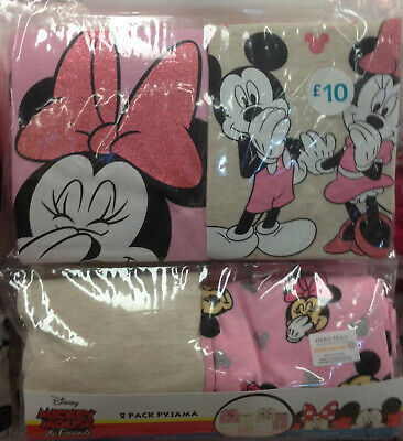 Minnie Mickey Mouse Disney Official Girl's PJ Pyjama set 2 sets Sizes 7 to 13 yr