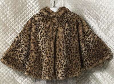 NEXT Leopard faux fur poncho with Teddy Bear hood.Age 3-4 YRS. Outdoor/Casual.