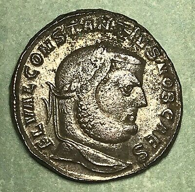 Ad 305-306 Roman Empire  Constantius I Bronze-Silvered Follis Ancient Coin