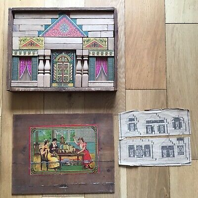 Old Antique Victorian Edwardian Childrens Architectural Wooden Building Blocks