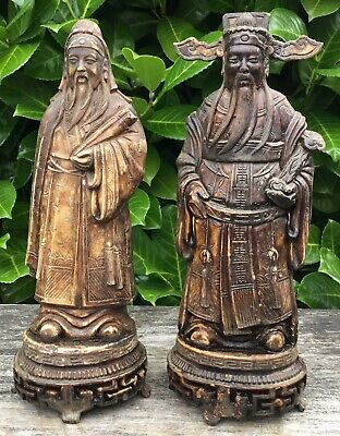 Pair Of Vintage Resin Carved Signed Japanese Chinese Oriental Decorative Figures