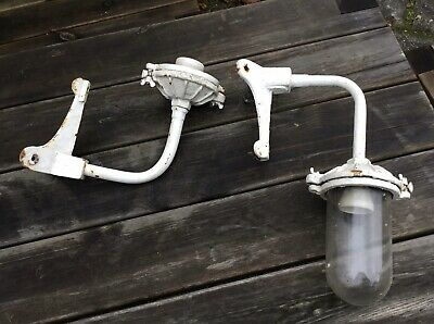 Pair Old Vintage Industrial Cast Iron Corner Swan Neck Wall Lights Glass Shade