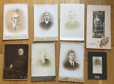 8 Old Antique Victorian Edwardian Portrait Cabinet Photographs