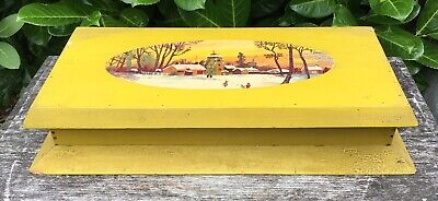 Old Vintage 1930/40s Christmas Winter Scene Painted Large Wooden Box For TLC
