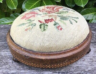 Old Vintage Antique Shabby Chic Victorian Edwardian Embroidery Foot Stool