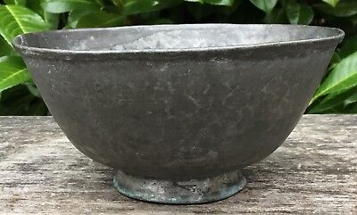 Old Antique Primitive Naive Anglo Indian Footed Bowl Copper Coated With Tin