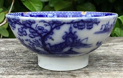 Antique C. 1840 Staffordshire Pearlware Blue & White Chinese Pagoda Bowl