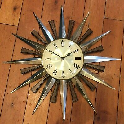 Original Vintage 1970's Retro Metamec 70 60 Wall Clock star sunburst quartz
