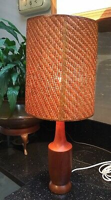 Old Vintage Retro Midcentury Modern Teak Bottle Table Lamp With Original Shade