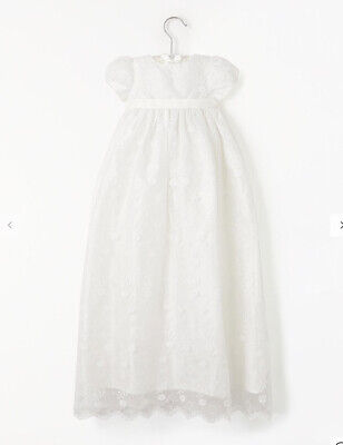 John Lewis & Partners Baby Silk Lace Gown  Cream - Aged 9-12 months