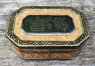 Old Vintage Lacquered Wood Rattan Straw Keepsake Trinket Box With Floral Panel