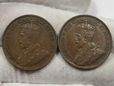 2 XF w/ Full Crown Canadian Large Cent: 1916 & 1917.  #23