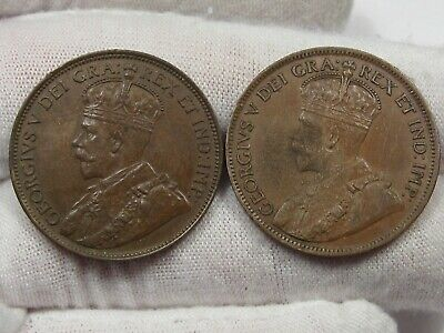 2 XF w/ Full Crown Canadian Large Cent: 1918 & 1919.  #24